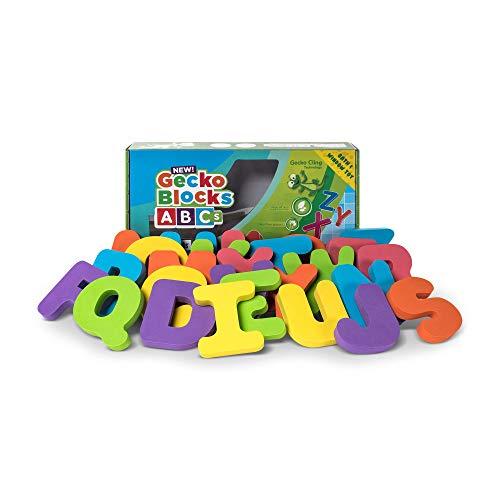 (GECKO BLOCKS ABCs Foam Alphabet Sticks When Wet or Dry Stick to Windows, Bath Tub, Tile, Metal, Fridge, Washing Machine)