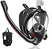 Maoyea Full Face Snorkel Mask,Snorkeling Gear for Adults Youth Kids,Dry Top Breathing System Double-Tube Set w