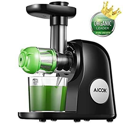 Juicer Masticating Slow Juicer, Aicok Commercial Juicer, Quiet Motor & Reverse Function, Cold Press Juicer Easy to Clean with Brush, Juice Machine Recipes for Vegetables and Fruits
