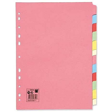 2 x Office Subject Dividers Multipunched Manilla Card 12-Part A4 Assorted -Pink 5 Star