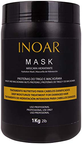 INOAR PROFESSIONAL - Macadamia Oil Premium Mask - Unique Blend of Macadamia Nut Protein and Wheat Protein to Condition and Intensely Moisturize the Hair (2lbs / 1 Kg)