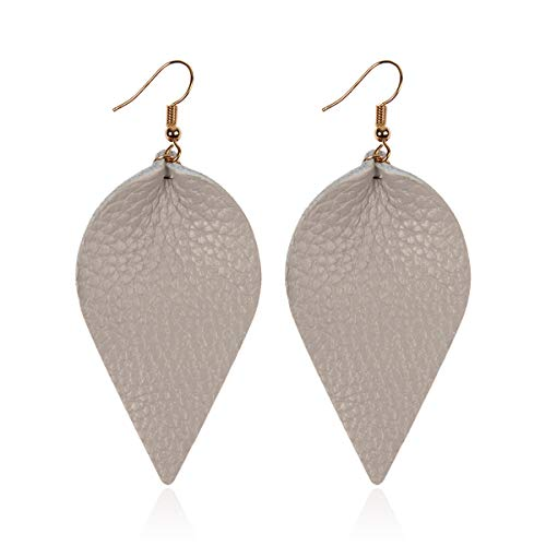 Bohemian Lightweight Genuine Real Leather Geometric Drop Statement Earrings - Petal Leaf, Triple Feather, Teardrop Dangles, Scallop Disc Hoop (Leaf - Gray)