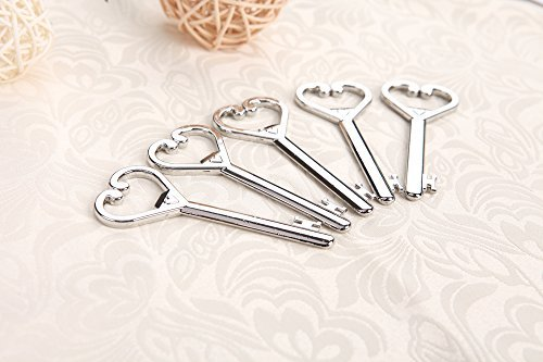 Large Heart Shaped Bottle - 25pcs Large Skeleton Key Shaped Bottle Openers with Hearts Silver Wedding Favors Shiny Decoration