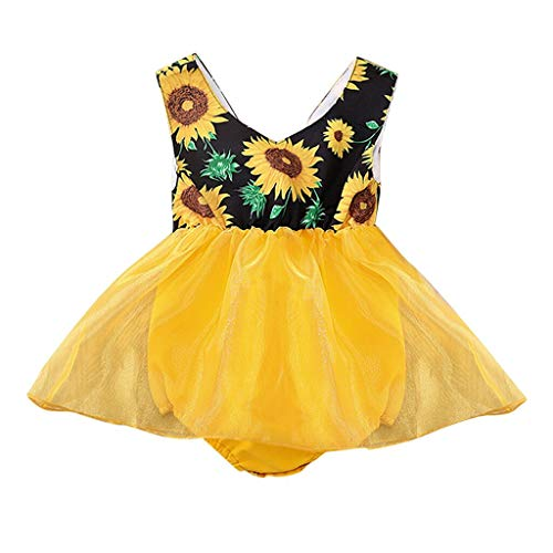 Baby Girl Sleeveless Bodysuits Sunflower Print Romper Tulle Princess Dress Casual Party (Yellow, Recommend Age:6-12 Months)