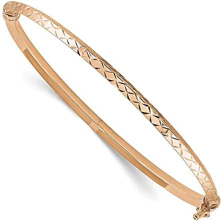 Lex Lu 14k Rose Gold Polished DC Hinged Bangle Bracelet