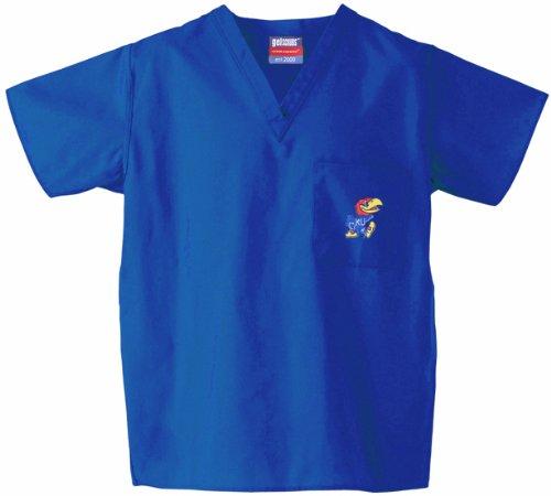 (Gelscrubs University of Kansas Jayhawk Scrub Top Royal Blue XS)