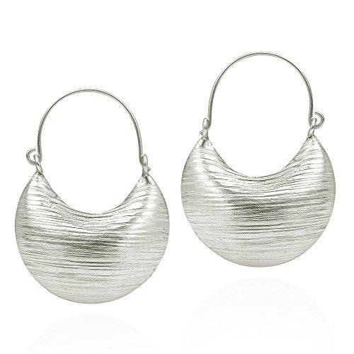 (Contempo Textured Line Basket Hoop Karen Handmade Tribal .925 Sterling Silver Earrings)