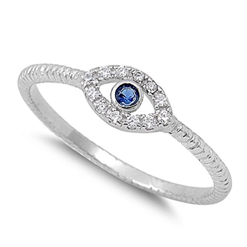 Evil Eye Blue Simulated Sapphire Polished Ring New .925 Sterling Silver Band Sizes 3-13 (8)