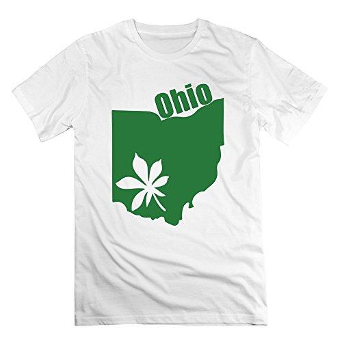 SAVIS 100% Cotton Man's Ohio State Buckeyes OSU Buckeye Leaf Map Tshirts White