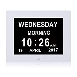 [2017 Upgraded] Day Alarm Clock - Extra Large Impaired Vision Digital Clock with Extra Large Non-Abbreviated Day & Month.8 Clock,Alarm Clock,Wall Clock Perfect For Senior