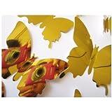 Art - 12pcs 5 Colors Mirror Surface Butterfly Wall Sticker FridgeDecor Art Applique