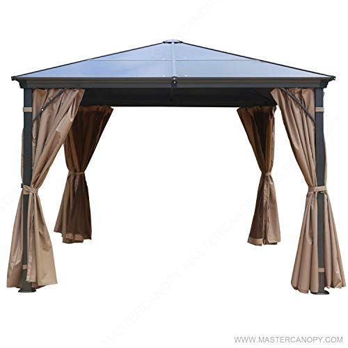 MasterCanopy Patio Polycarbonate Gazebo Canopy Hardtop Gazebo with Brown Mosquito Netting Screen Walls Curtains,DL-041(10FT×10FT)