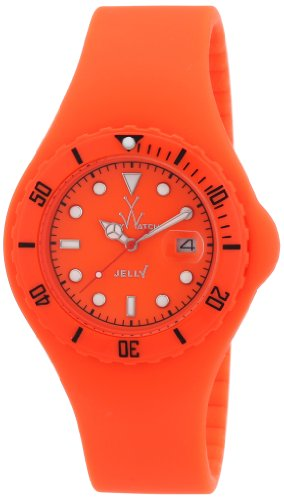 ToyWatch Jelly Watch JY03OR Orange Silicone Strap Plasteramic Case Date Display Interchangeable Strap -