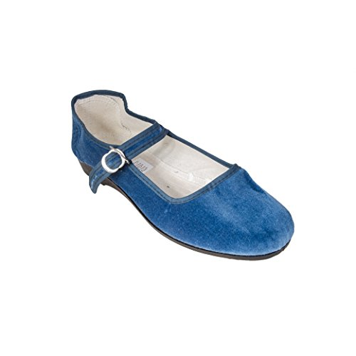 mujer azul 42 para de Bailarinas azul vaquero Terciopelo Sonnenscheinschuhe® wYqI87x