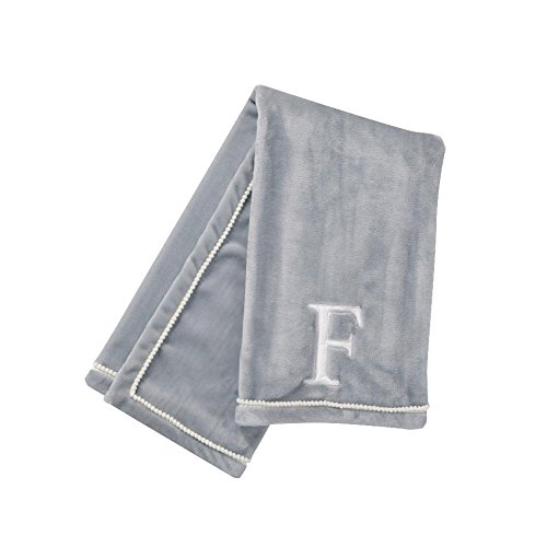 Levtex Baby Monogram ''F'' White Plush On Light Grey Ground Plush Blanket