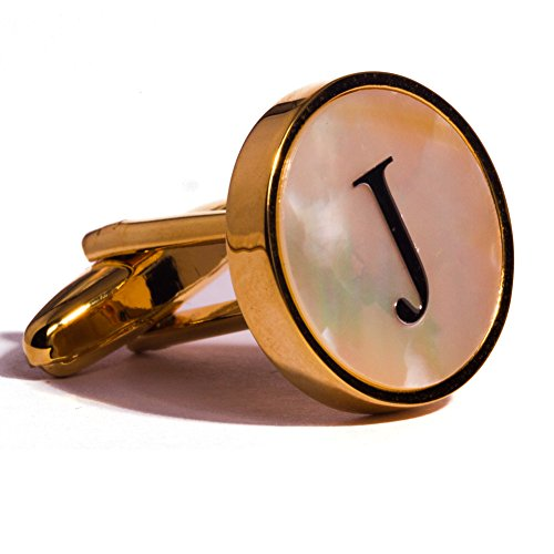 Digabi Initial Letter Cufflinks 18K Gold Plated Mother of Pearl J