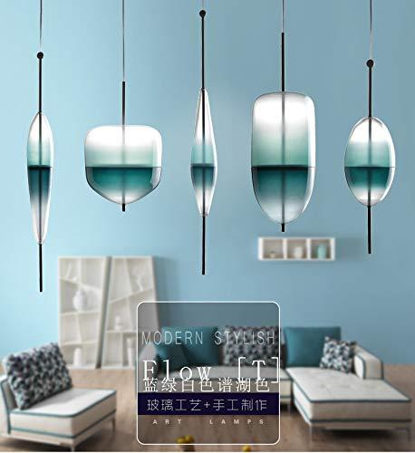 Nordic Modern Teardrop-Shaped Blue Glass Pendant Light LED Art Deco Simple White Hanging lamp for Living Room Restaurant ()
