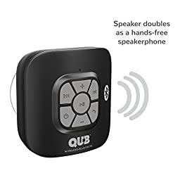 AquaAudio Cubo – Portable Waterproof Bluetooth Speaker with Suction Cup for Showers, Car, etc. - Pairs with All Bluetooth Devices + Siri Compatible - 10 hours Playtime/ Built-in Mic (Black)