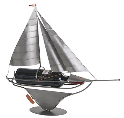 Sailboat Wine Bottle Holder, Display or Caddy from H&K Steel Sculpture - ()