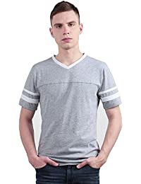 "<span class=""a-offscreen"">[Sponsored]</span>Allegra K Men Color Block V Neck Contrast Striped Panel Short Sleeves T-Shirt"