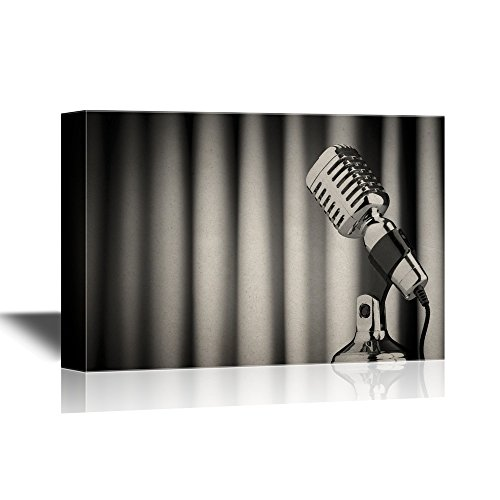 wall26 Music Canvas Wall Art - Vintage Microphone Against the Backdrop Curtain - Gallery Wrap Modern Home Decor | Ready to Hang - 32x48 ()