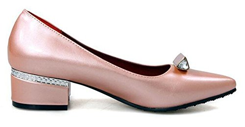 Chfso Donna Strass Sexy Punta A Punta Slip On Mid Tacco Grosso Pumps Rosa