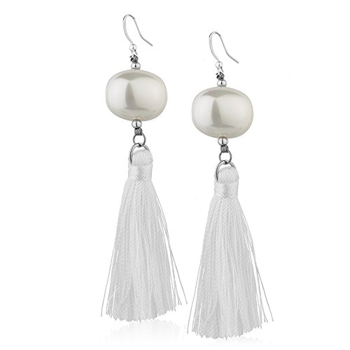 White Polyester Tassel & Reconstructed Round Shell Bead Long Statement Dangle Earrings -