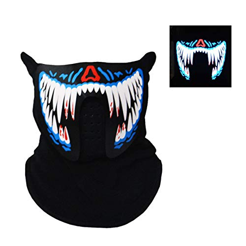 (Music Light Up Cool Mask Rave Mask Led with Sound Active for Dancing,Riding,Skating,Party and Any)