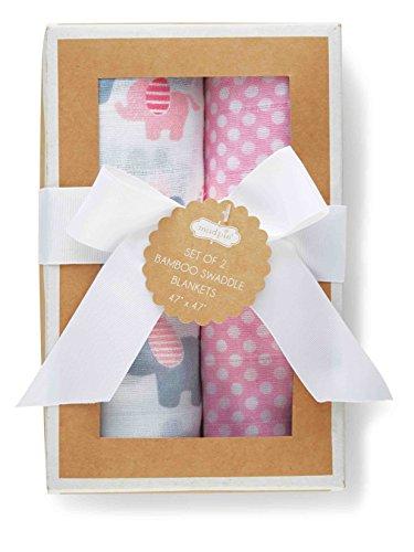 Mud Pie Newborn Blankets (Mud Pie Baby Girl Elephant Swaddle Blanket Set, Pink)