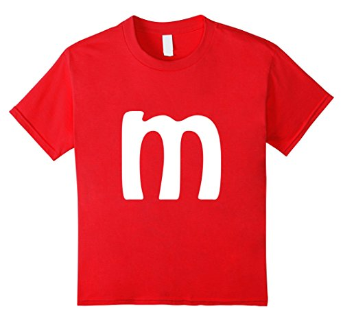 Kids M Letter Brilliant Last Minute Halloween Costume T-shirt 12 Red (Easy Last Minute Halloween Costumes For Boys)