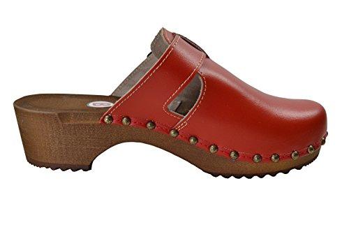 Buxa Damen Holz und Leder Clogs mit Spezial-Schnalle Rot