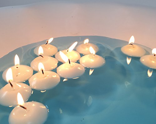 Mini 1.4-inch Round Floating White Flaming Disc Unscented Candles, Set of 20, Used for Weddings, Home Decor, Birthdays, Centerpieces, Water Decorations, Etc. (Mini Floating)