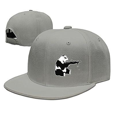 Adults Unisex Funny Shooting Panda Trucker Caps Adjustable Snapback Sport Hat Mesh Ash