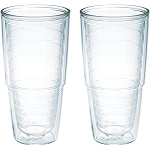 Tervis 1001833 Clear & Colorful Insulated Tumbler 2 Pack – Boxed, 24 oz Tritan, Clear