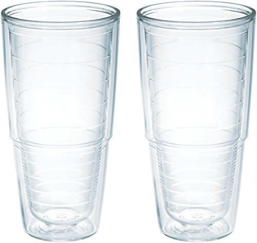 Tervis 1001833 Clear & Colorful Insulated Tumbler 2 Pack - Boxed, 24 oz Tritan, Clear