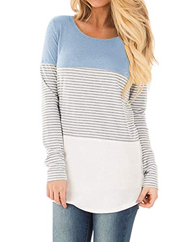 YunJey Long Sleeve Round Neck Triple Color Block Stripe Casual Blouse ()
