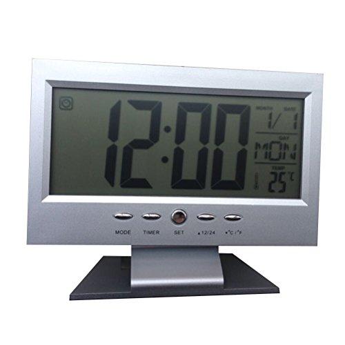 VORCOOL World Time Creative Large Screen Modern Digital Alarm Clock LCD LED Backlight Snooze Large Digit Desk (Silver)