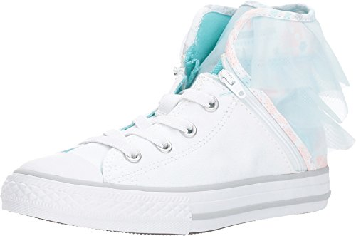 Converse Kids Chuck Taylor All Star Block Party - Hi Little Kid/Big Kid White/Glacier Blue/White Girls Shoes ()