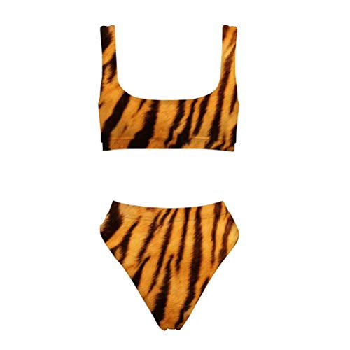 (Allcute Women's Athletic Two Piece Swimsuits Scoop Neck Tiger Pattern Bikini)