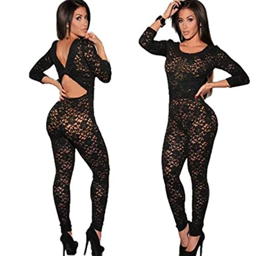Rene Rofe Mesh Crotchless - Mlide Sexy Black Lace One-Piece Perspective Tight Mesh,Womens Lingerie Babydoll Sleepwear Net Clothing Bodysuit Nightwear(Black,Large)