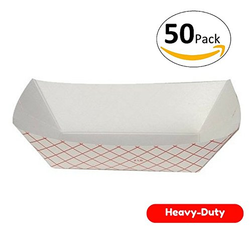 Food boats , Grease Resistant 2 Lb Paper Food Trays 50 Pack. Durable, Carnival Party Supplies Ideal for Festival, Carnival and Concession Stand Treats Like Hot Dogs, Ice Cream, Popcorn and Nachos.]()