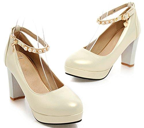 IDIFU Womens Sexy Beaded Ankle Strap Buckle Pumps Round Toe High Chunky Heels Platform Sandals Beige TAm5nXG3kJ