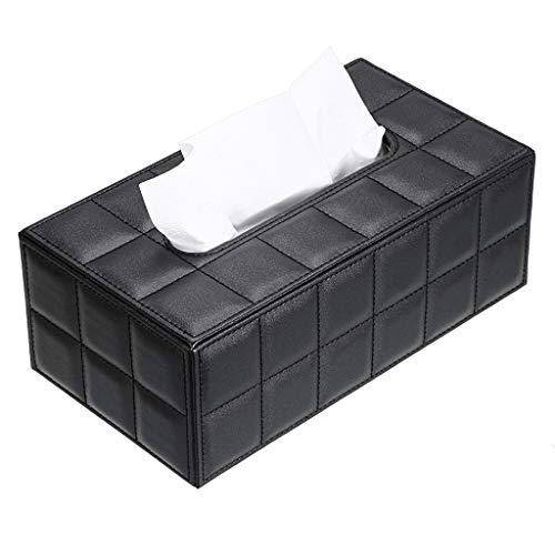 Sumnacon Stylish PU Leather Tissue Box Holder, Rectangular Napkin Holder Pumping Paper Case Dispenser, Facial Tissue Holder with Magnetic Bottom for Home Office Car Automotive Decoration, Grid Black