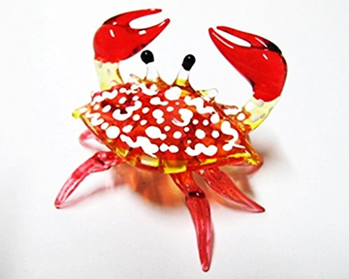 Pakdeevong shop 1 X Handcrafted MINIATURE HAND BLOWN GLASS Small Red Crab FIGURINE Collection