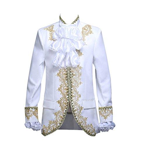 ROLECOS Mens Prince Charming Costume Royal Tuxedo Luxury Dress Blazer Pants White M