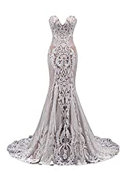 Ruolai Strapless Sweetheart Neck Special Sequined Mermaid Evening Dress Wedding Gowns