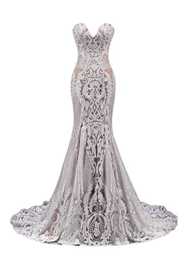 Ruolai Strapless Sweetheart Neck Special Sequined Mermaid Evening Dress Wedding Gowns White-Nude 12