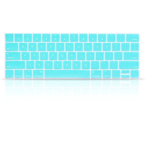 ProElife Premium Ultra Thin Silicone Keyboard Protector Keyboard Cover Skin for Apple MacBook Pro with Touch Bar Retina 13 and 15 (Model A1706, A1707, 2016 2017 2018 Released) Turquoise Blue