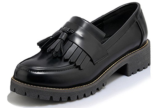 SHOWHOW Womens Casual Fringes Slip-on Round Toe Oxford Shoes Black