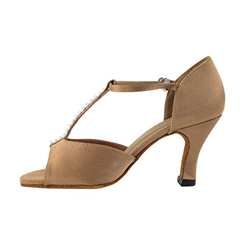 """Gold Taube Schuhe 50 Shades Of Tan Tanzkleid Schuhe Collection-III, Komfort Abend Hochzeit Pumps: Ballroom Schuhe für Latein, Tango, Salsa, Swing, Kunst von Party Party (2,5 """", 3"""", 3,5 """"Heels) 1609 Brauner Satin & Stein"""